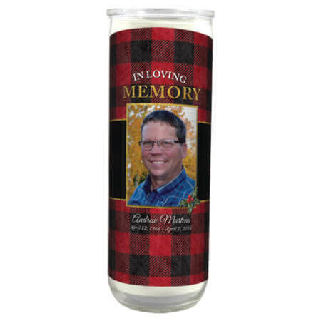 round plaid candle