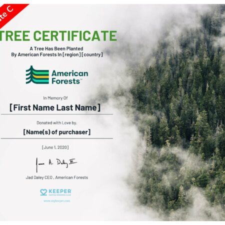 memorial tree planting certificate